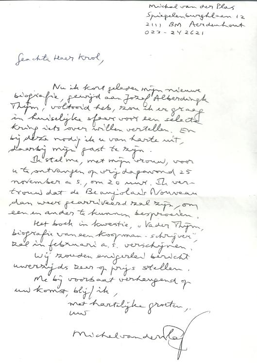 Brief van Michel van der Plas aan Hans Krol over de Thijm-biografie