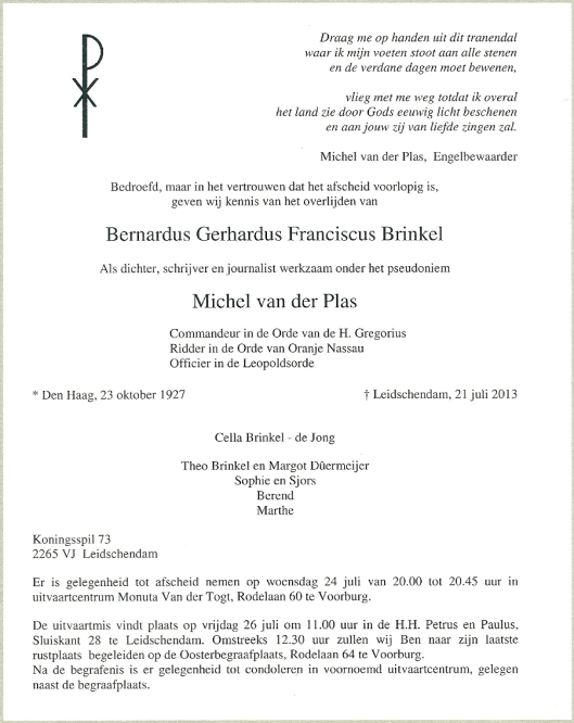Overlijdensbericht B.G.F.Brinkel/Michel van der Plas