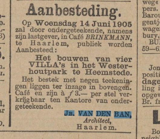 Uit: Het nieuws van den dag van 9 juni 1905.