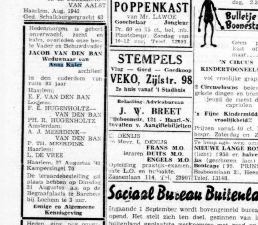 Overlijdensadvertertentie Jacob van den Ban. Uit: Haarlemsche courant van 28 augustus 1943