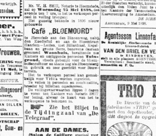 Verkoop café Bloemoord aan de Binnenweg in Heemstede. Adv, uit De Telegraaf van 9 mei 1898