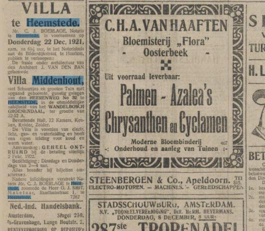 Villa 'Middenhout', Herenweg 32, gebouwd door J. van den Ban [intussen afgebroken]. Uit: De Tijd, 7 december 1921