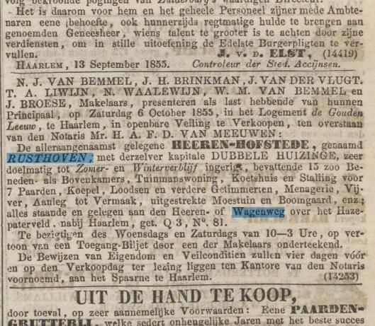 Bericht over verkoop hofstede Rusthoven uit het Algemeen Handelsblad van 24 september 1855.