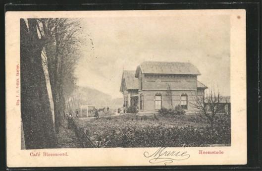 Oude prentbriefkaart van 'Bloemoord' in 1896 gebouwd voor kweker H.M.Ruijsenaars  aan de Binnenweg in Heemstede (tegenover 't Nieuw Klooster. nu Winkelgalerij), naar een ontwerp van J.van den Ban en S.Roog