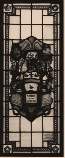 Glasraam met heraldisch wapen en naam Smidt van Gelder