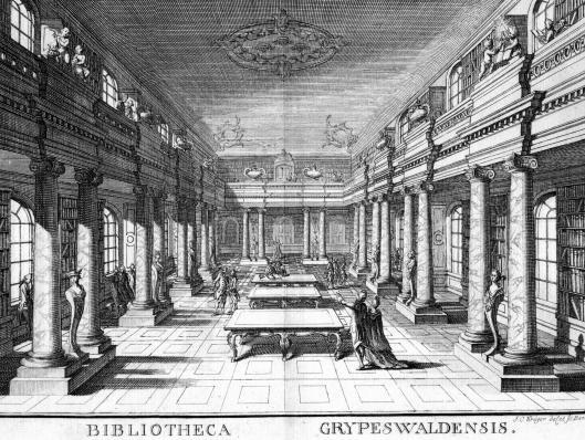 Gravure van de universiteitsbibliotheek Greifswald rond 1750