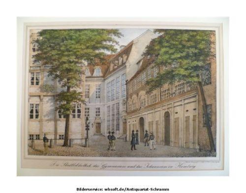 Die alte Stadtbliothek, das Gymnasium und das Johannaeum. 1840