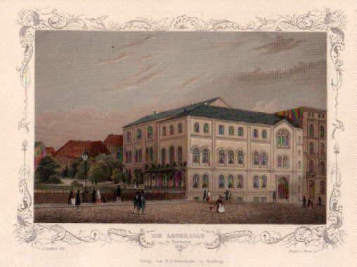Die Lesehalle in Hamburg. Staalgravurure, vervaardigd door Poppel & Kurz naar een tekening van J.Gottheil. In 1855 uitgegeven door Verlag B.S.Berendsohn