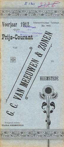 Prijscourant G.V.van Meeuwen & Zonen uit 1918