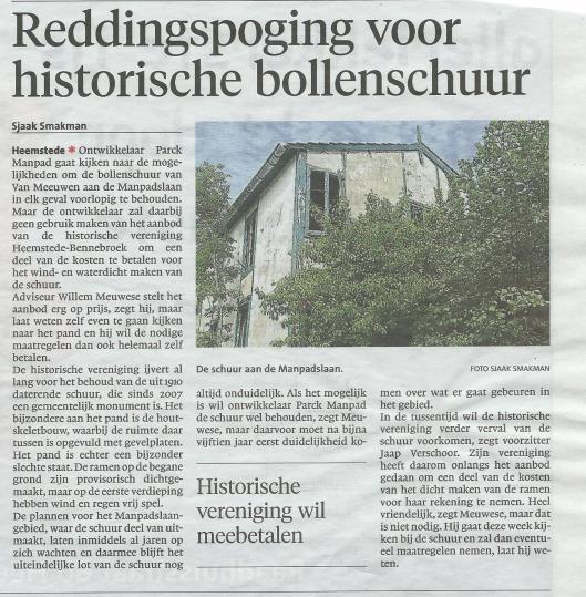 Reddingspoging voor bollenschuur? Uit: Haarlems Dagblad van 1 juli 2015.