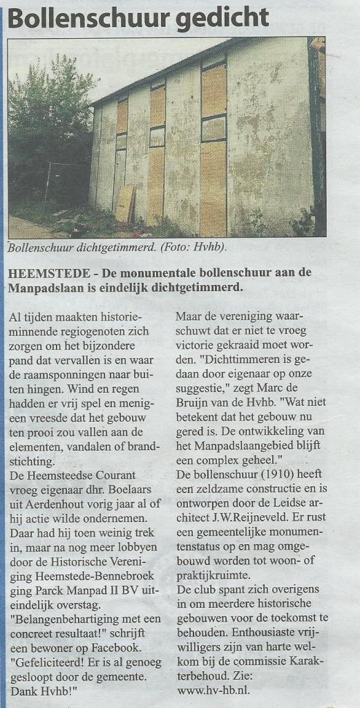 Bollenschuur Heemstede dicht. Uit: Heemsteedse Courant van 19 augustus 2015