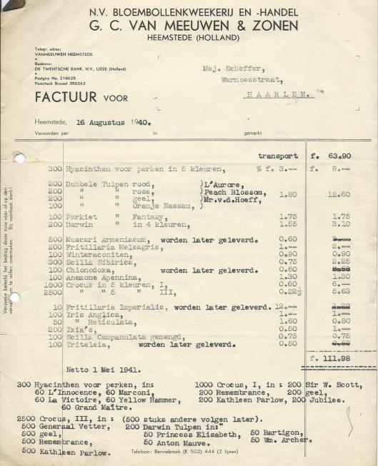 Vootbeeld van een factuue van bloembollenkwekerij en -handel G.C.van Meeuwen & Zonen, Heemstede, gedateerd 16 augustus 1940.