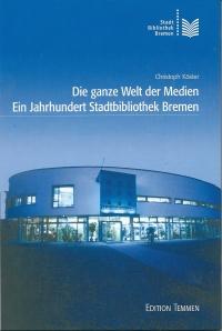 Voorzijde van een in 2002 verschenen boek bij gelegegheid van  het 100 jarig bestaan van de stadsbibliotheek. Op de foto een afbeelding van de bibliotheek in Bremen-West