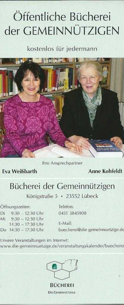 Flyer van een volksbibliotheek in Lübeck