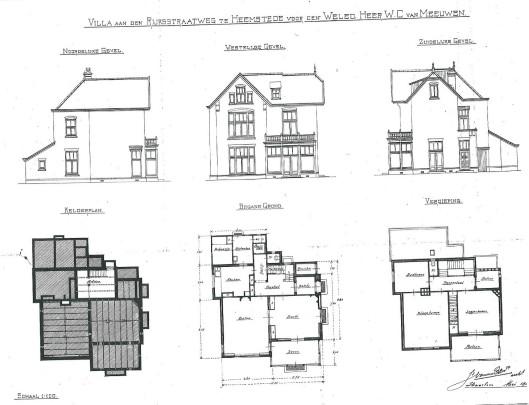 Bouwtekening villa Herenweg 60 voor (bloemist) W.C.van Meeuwen. Getekend mei 1900 door J.van den Ban, Alexanderstraat 12 Haarlem (Bouwtekeningenarchief Heemstede)