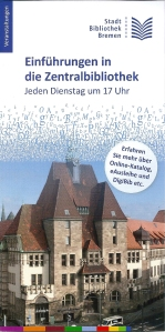 Voorzijde flyer van stadsbibliotheek Bremen