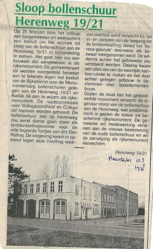Voorgenomen sloop van bollenschuur Herenweg 19/21 die gelukkig geen doorgang vond. Artikel uit de Heemsteder van 12 maart 1998.