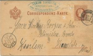 Correspondentiekaart met bestelling van Jakob Ziegler in Salzburg gericht aan Nicolaas Roozen en Zonen, Bronstee. 1929