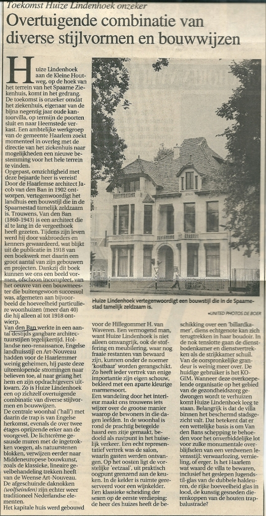 Artikel van Wim de Wagt over historie en onzekere toekomst van huize Lindenhoek, uit het Haarlems Dagblad van 11 juni 1991