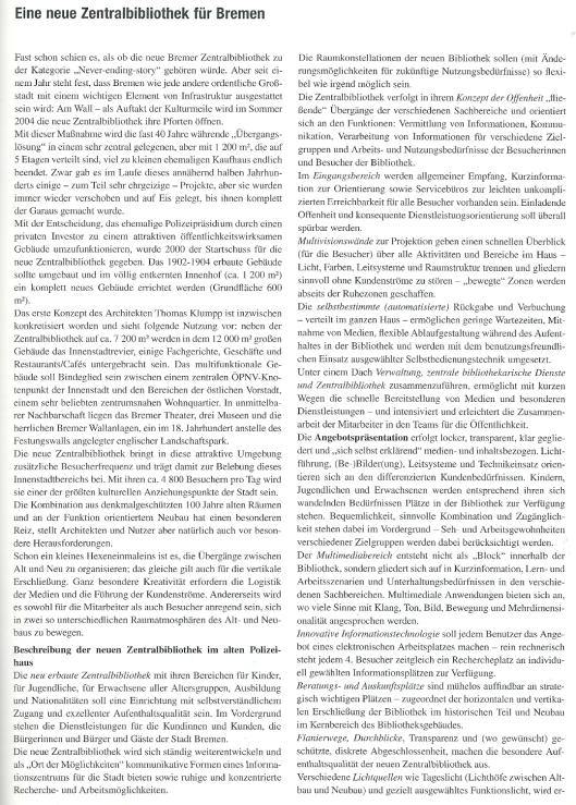 Uit: Bibliothek 27. 2003. Nr.1/2 Lison, Steffens: Eine neue Zentralbibliothek für Bremen.