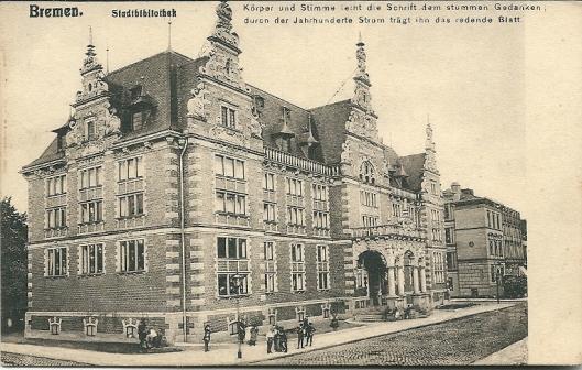 Oude ansichtkaart van de stadsbibliotheek in Bremen