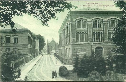 Oude ansicht van universiteitsbibliotheek in Greifswald
