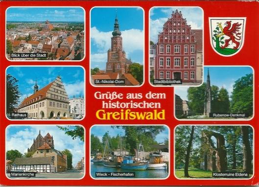 Prentbriefkaart van het historische Greifswald met rechtsboven het gebouw van de stadsbibliotheek