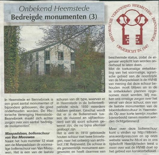 Bericht: Bedreigde Monumenten (3). Uit: de Heemsteder, 11-12-2013