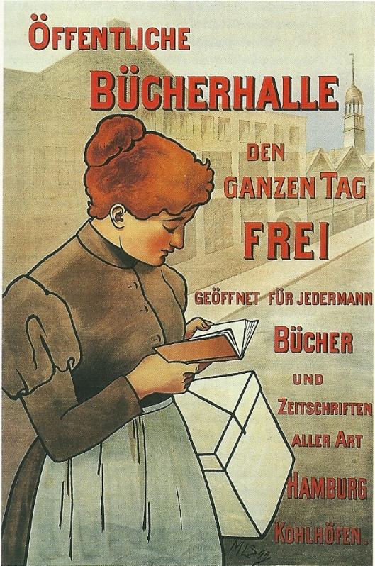 Propagandaplaat van öffentliche Bücherhalle Hamburg uit omstreeks 1918, getekend door Marie Loesener-Sloman
