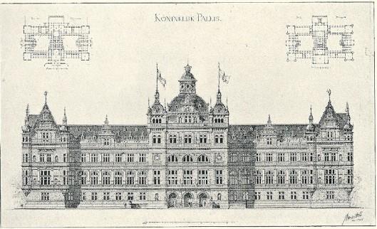 Bekroond ontwerp van J.van den Ban voor paleis koning Willem III Ereprijsvraag Genootschap Genootschap Architectura et Amicitiae. 1885.