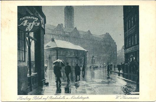 Oude fotokaart van W.Heinemann met afbeelding van de Bücherhalle