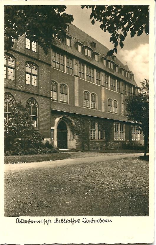 Oude ansichtkaart van Universiteitsbibliotheek Paderborn
