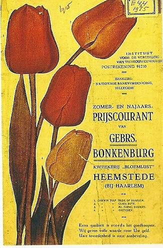 Prijscourant Gebrs. Bonkenburg uit 1925