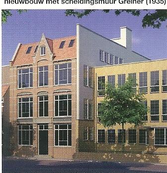 Links oudbouw Vasn Hamersveld en Roog (1902) en rechts nieuwbouw verbouwing en uitbreiding van de Haarlemsche Huishoud- en Industrieschool (HHIS)met scheidingsmuur door Dick Greiner (1935)