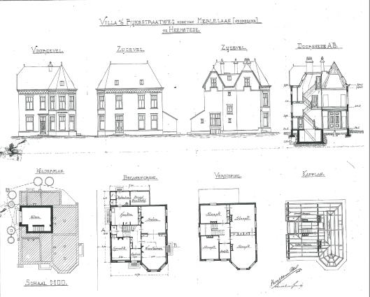 Ontwerp van villa 'Zuiderhoek', Herenweg 59, door Roog en Van den Ban, 1899 (Bouwtekeningenarchief Heemstede)