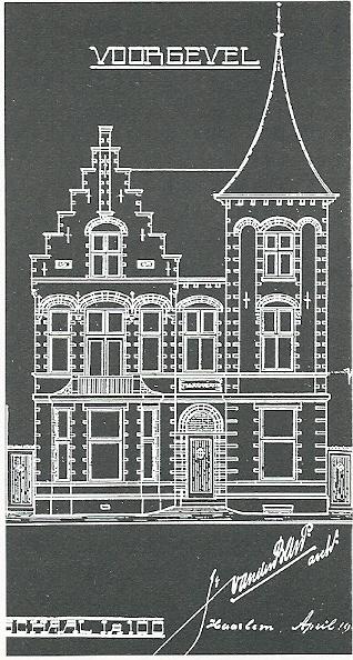 Bouwtekening van de villa Spruitenbosstraat, in 1908 ontworpen door J. van den Ban