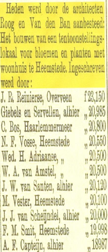 Uit: Haarlems'Dagblad van 29 juni 1895. De bouw werd gegund aan de laagste inschrijver, aannemer A.F.Capteijn in Haarlem