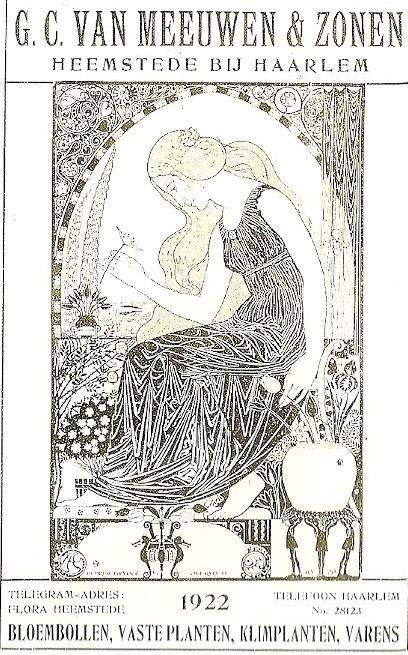 Titelblad van de catalogus met prijslijst van G.C.van Meeuwen & Zonen te Heemstede. De illustratie is van A.Bijvoet