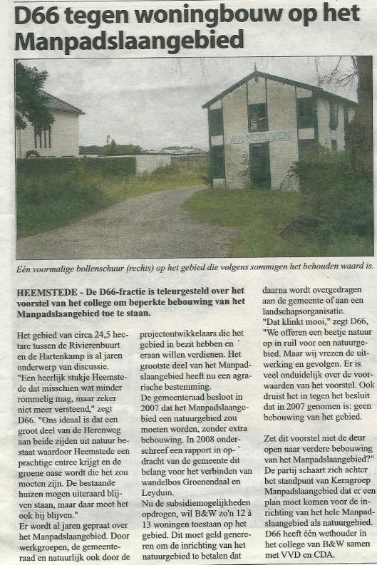 Recent bericht over Manpadslaangebied uit de Heemsteedse Courant van 11 september 2013.