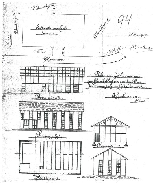 Ontwetptekening van P.Smit uit 1907 voor bollenloods aan de Kadijk (Bouwtekeningenarchief Heemstede)