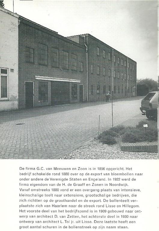 Herenweg 21 Bollenbedrijf G.C.van Meeuwen. Uit: Gids voor industriële monumenten in Zuid-Kennemerland. 1996