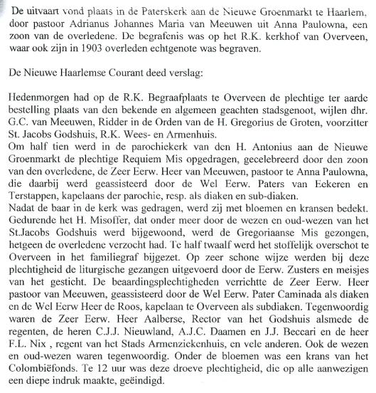 Vervolg van:  Gerardus Catharinus van Meeuwen.
