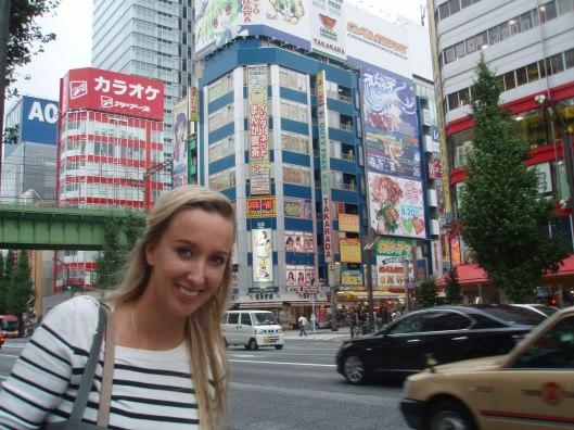 Angelique bij het 'Times Square' van Tokio