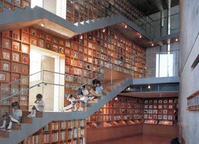 Kinderbibliotheek in Iwaki, Japan, geopend in 2006 en ontworpen door Tadao Ando