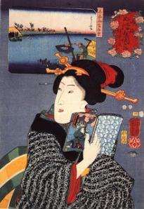 Lezende vrouw; door Kuniyoshi Utagawa (1797-1861)