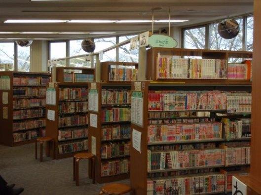 Een manga-bibliotheek met uitsluitend manga-boeken