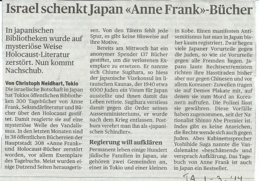 Israel schenkt Japan 'Anne Frank Bücher', In: Tages Anzeiger (Zürich), 1-3-2014
