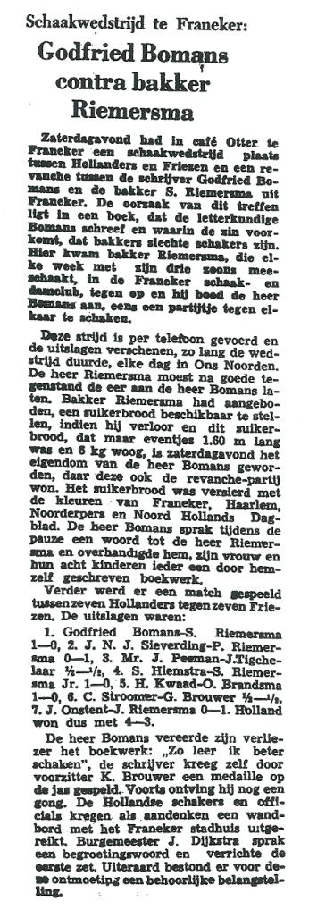 Tot teleurstelling van bakker Riemersma won Godfried Bomans zijn partij. (Uit: Leeuwarder Courant van 9 maart 1959)