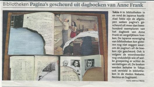Pagina's gescheurd uit dagboeken Anne Frank in bibliotheken. Uit: Haarlems Dagblad, 22-2-2014