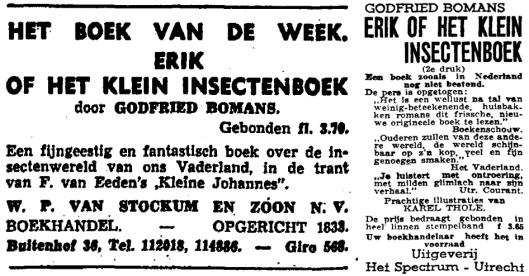 Advertentie van Van Stockem voor de tweede druk van Erik, Februari 1941